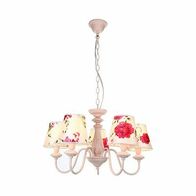 Pink Rose Shade Iron Chandelier