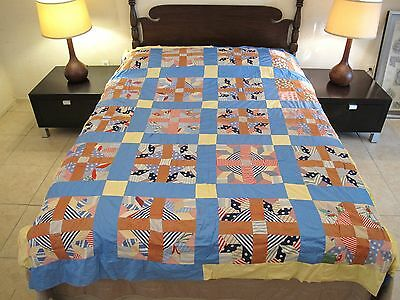 FULL Graphic, Vintage Hand Sewn Feed Sack TURKEY TRACKS, Fancy Flowers Quilt TOP