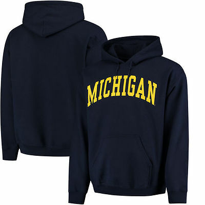 Michigan Wolverines Basic Arch Pullover Hoodie - Navy - NCAA