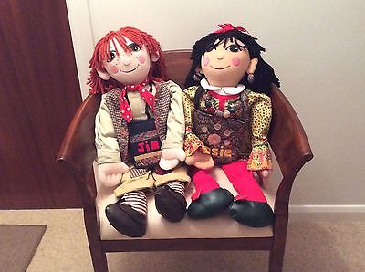 "Collectable Giant 30"" Rosie and Jim Narrow Boat dolls - Very good condition"