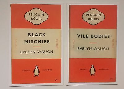 Penguin Book Cover Postcards Evelyn Waugh Vile Bodies & Black Mischief