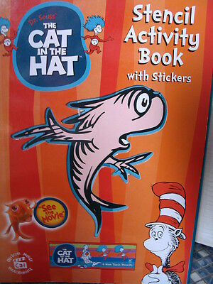Dr Seuss Cat In The Hat Thing 1 & 2 Stencil Activity Sticker Book Brand New Rare