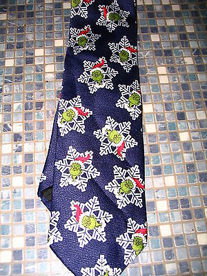 Dr Seuss Grinch Who Stole Christmas Navy Snowflake Tie  Brand New Very Rare