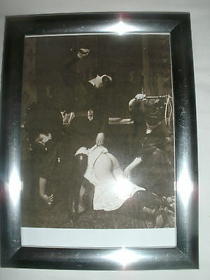"""Bare Bottom Birching Picture in 7""""x5"""" Silver Frame.Martinet.Spanking."""
