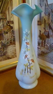 Antique Victorian Webb Baby Blue Bristol Glass Vase Hand Painted With Enamel