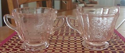 Indiana Glass Recollections pink creamer + sugar
