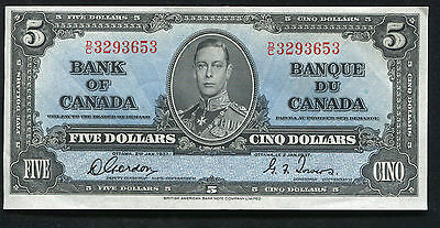 BC-23b 1937 $5 FIVE DOLLARS BANK OF CANADA GORDON/TOWERS UNCIRCULATED