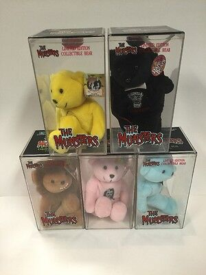 Set Of 5 Le The Munsters Rare Bears Collectible Teddy Bears Mint. In Cases