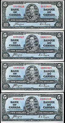 (4) CONSECUTIVE BC-23c 1937 $5 FIVE DOLLARS BANK OF CANADA COYNE/TOWERS UNC