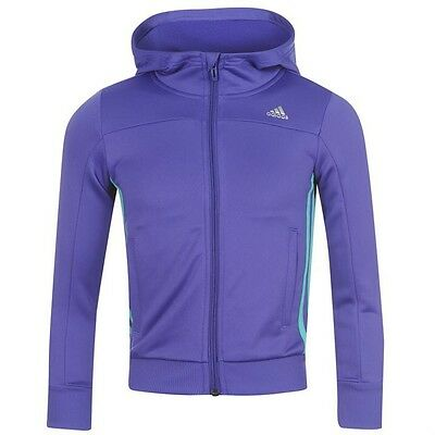 Adidas Girls Hooded PES Tracksuit Jacket Purple/mint 7-8 Years