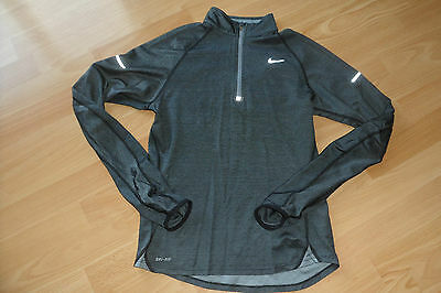 Nike Running Dry Fit Grey Long Sleeve Chest Zip Top Size Small