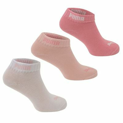 Puma PINK Girls Quarter Socks 3 Pack Elasticated Ankle Opening SIZE 2.5 - 5