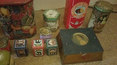 JOB LOT OF 14 x  OLD ADVERTISING TINS CONTAINERS poppy talcum powder and twining