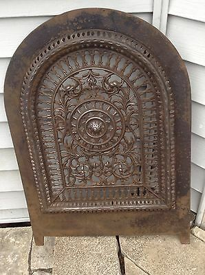 Victorian Architectural Antique cast Iron Fireplace Cover 19th c