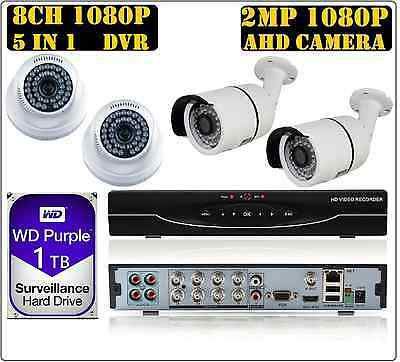 8CH 1080P 2MP 5in1 DVR, 1080P 2MP AHD CCTV Security Camera System Kit 1TB WD HDD
