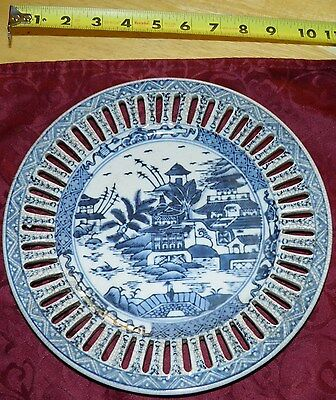 Chinese Blue and White - fruit-plate with decorative wholes