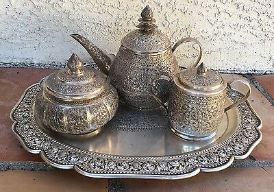 4 Persian Islamic Silver Tea Coffee Set Ornately Hand Chased .900 Silver 1713 gr