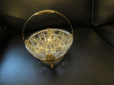 Antique Victorian Glass & Brass Handled Footed Divided Bowl