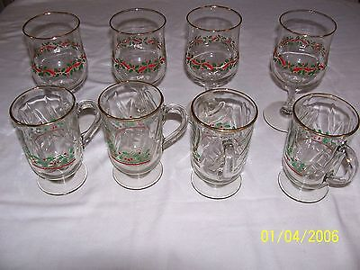 Lot Of 8 Arby's Christmas Holiday Stemware Glasses & Mugs Holly And Berries