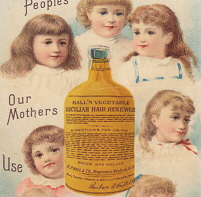 Antique Halls Vegetable Hair Renewer 1800's Victorian Advertising Bottle Ad Card