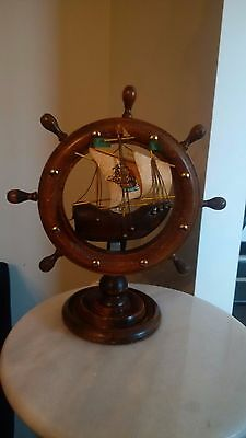 Vintage retro ship steering wheel lamp- great for the old Sea Captain! working