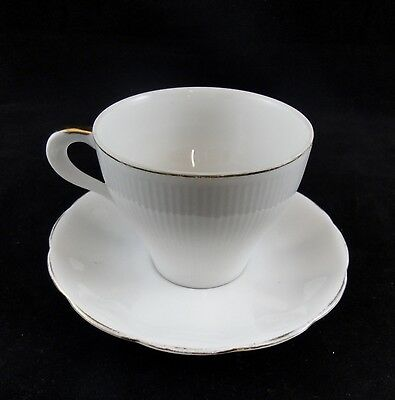 Roslyn England Bone China Teacup and Saucer White with Gold Trim