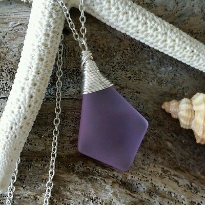 Wire wrapped purple sea glass necklace jewelry,sterling silver chain,gift box.