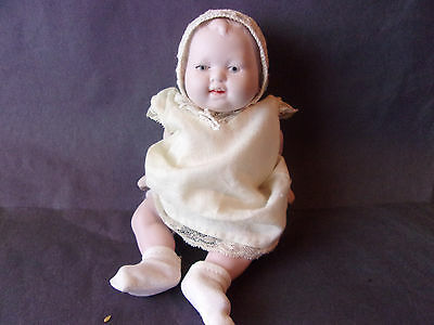 PERFECT Antique GERMAN Bisque BABY DOLL, Open Mouth, Marked, Strung Arms & Legs