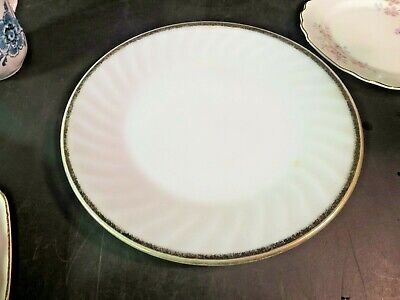 "Anchor Hocking Fire King Swirl 9"" Plate Gold Trim"