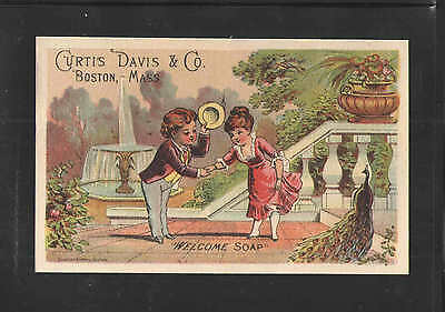 1880s CURTIS DAVIS & CO BOSTON MASS WELCOME SOAP VICTORIAN TRADE CARD