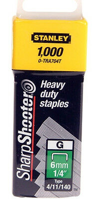 "6mm (1/4"") STANLEY HEAVY DUTY STAPLES 0-TRA704T (4/11/140) - Pack of 1000"