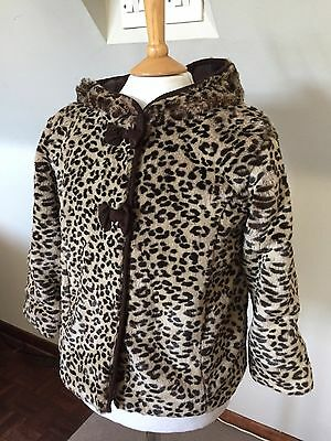 MARKS & SPENCERS Indigo GIRLS LEOPARD PRINT FAUX FUR COAT JACKET 5-6 YEARS