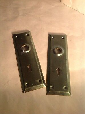 Lot of 2 Antique/Vintage Brass Doorknobs Backplates Covers Skeleton Keyholes New