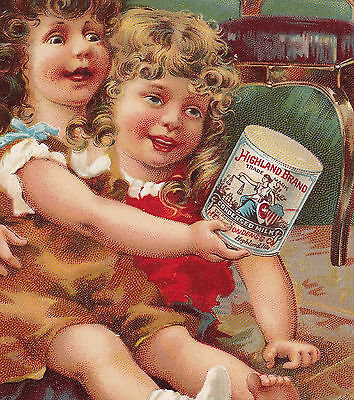 Antique 1800's Milk Highland Brand Condensed Cream Tin Can Girl Advertising Card