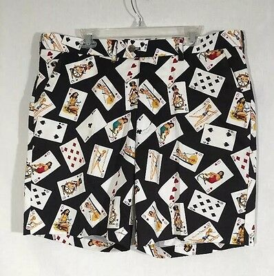 Loudmouth Golf Men's Naughty Sexy Pin Up Girl Cards Poker Shorts Size 40