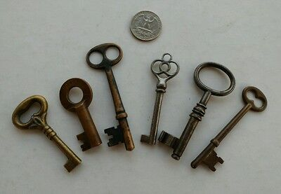 lot of 6 antique skeleton keys ornate barrel cabinet