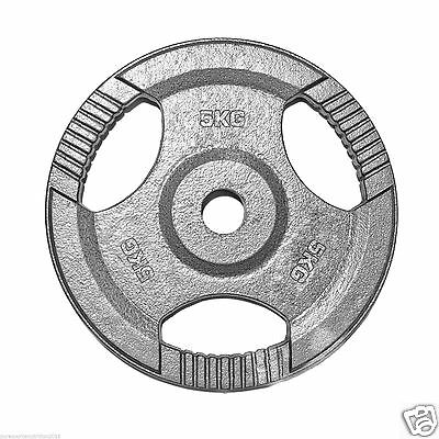 """1"""" TRI-GRIP Cast Iron Disc Weight Plates Curl Barbell Poids Fitness Gym 5KG"""