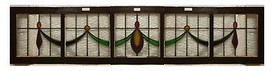 "English Antique 1900's Stained Glass Bay Window Transom. 96"" x 22"""