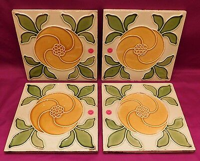 """4 Antique Tiles Stylized Flower Leaves 6"""" Square Yellow - Green 502A Vintage"""