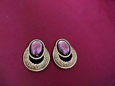 Vintage Dauplaise Signed Goldtone Clip-On Earrings With A Purple Stone