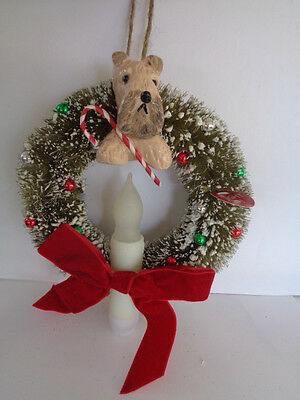 """Handmade~Wheaten Terrier """"light Up Christmas Wreath"""" Ornament~5 Day Only Auction"""