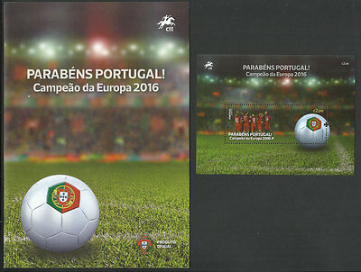 Portugal Champion Euro Soccer Cup 2016 France UEFA Football Brochure + s/s MNH