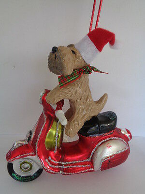 """Handmade~Wheaten Terrier """"riding On Red Scooter"""" Glass Ornament~5 Day Auction!"""