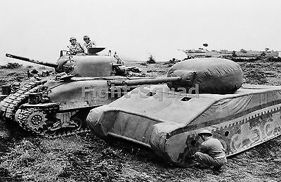 WW2 Picture Photo 1944 Tank M4A1 and an Inflatable Sherman at Anzio 1603