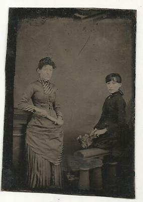 Tintype Photo # T5266    Very Pretty Mother & Daughter In Beautiful Dress