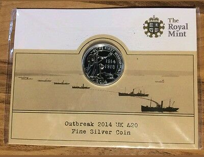 UK £20 Fine Silver Coin. 100 Year Ann. Outbreak of World War One 2014