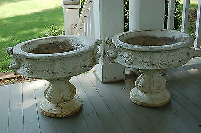PAIR Stunning Old French Antique Cherubs Concrete Planters