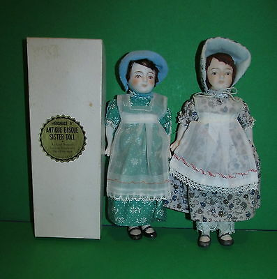 """SALE! RARE Shackman 8"""" Bisque Sister Doll TWINS Japan 1 is Mint in Box NRFB!"""
