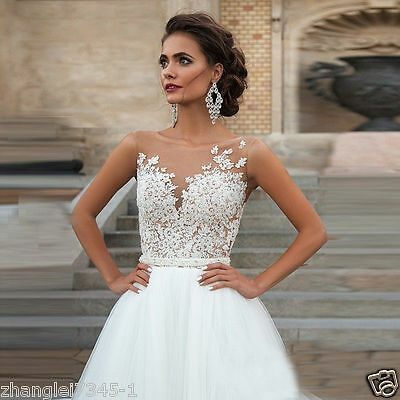 New White/Ivory Tulle Wedding Dresses Bridal Gown Custom Size 6 8 10 12 14 16 18