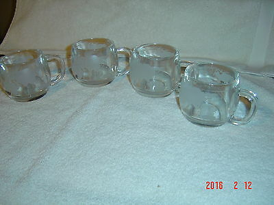 4 Nestle Nescafe Etched Frosted World Globe Coffee mugs cups unused w/foil label